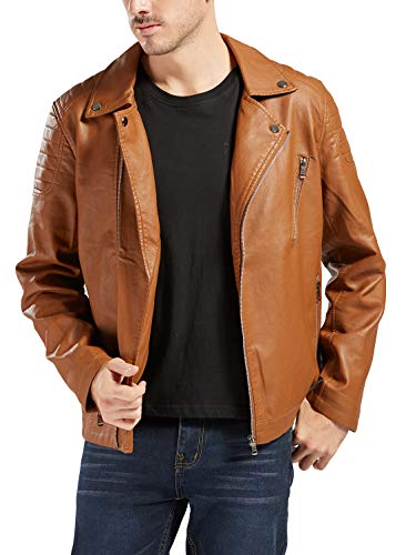Trimthread Men's Casual Warm Wear Zip Up Sherpa Lined Motorcycle Faux Leather Jacket (Large, Brown)