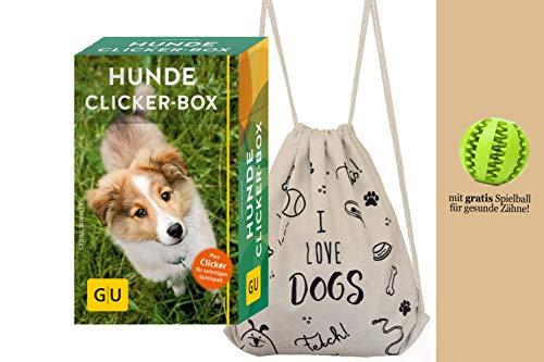 YellowMedia GU Hunde-Clicker-Box: Plus Clicker für sofortigen Spielspaß + stylischer Hunde-Beutel & gratis Hunde-Spielball für Zahnpflege, Hundetraining