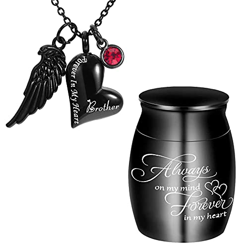 Cremation Urn Necklace for Ashes Forever in My Heart Jewelry Keepsake Memorial Pendant with Angel Wing and Birthstones for Loved One (Black-Brother and MINI Urn)