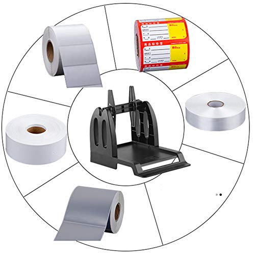 ACENT Etikethouder voor Rollen en Fan-Fold Etiketten Beugel Kunststof Etiketpapier Houder van Thermal Bar Code Sticker Label Printer voor Levering, Supermarkt, Apotheek Winkel Rolls Holder(Black) Zwart
