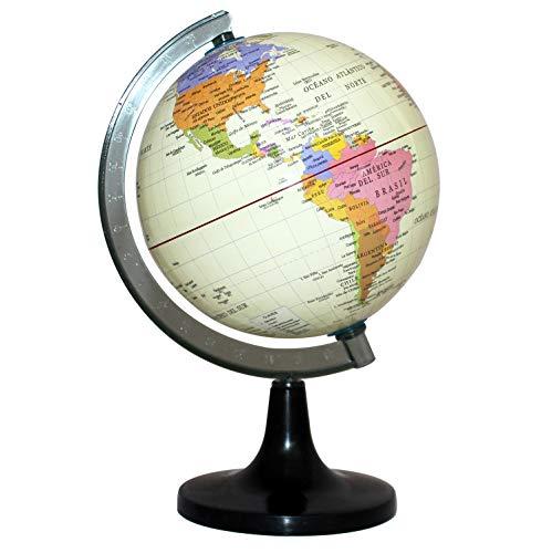 FUREIN Globo Terráqueo en Español Diámetro 15cm, con Meridiano Graduado y Pie de Base (Beige)