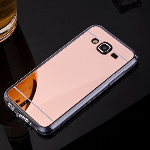 Sycode Coque Galaxy J7 2015,Galaxy J7 2015 Silicone Housse,Ultra Mince Doux Coque en Effet Miroir pour Samsung Galaxy J7 2015-Rose Or
