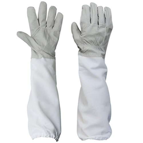 Yeefant 1 Pair Beekeeping Protective Gloves with Vented Long Sleeves,Grey and White,Total Length 19.68 Inch,Part of Skin Length 7.5 Inch,Palm Width 4.33 Inch,Middle Finger of Gloves Length 3.34 Inch