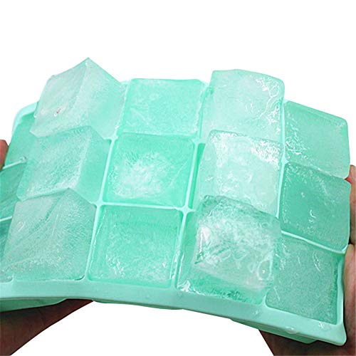 Plateau de Glace en Silicone de qualité Alimentaire Accueil avec Couvercle Bricolage Ice Cube Moule Forme carrée sorbetière Kitchen Bar Accessoires,Vert