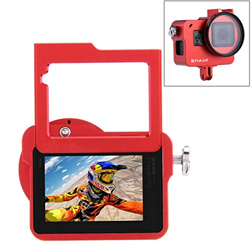 PULUZ Housing Shell Case CNC Aluminum Alloy Protective Cage with Insurance Frame & 52mm UV Lens for Hero 7 Black HERO6/ 5 New Hero (Red)