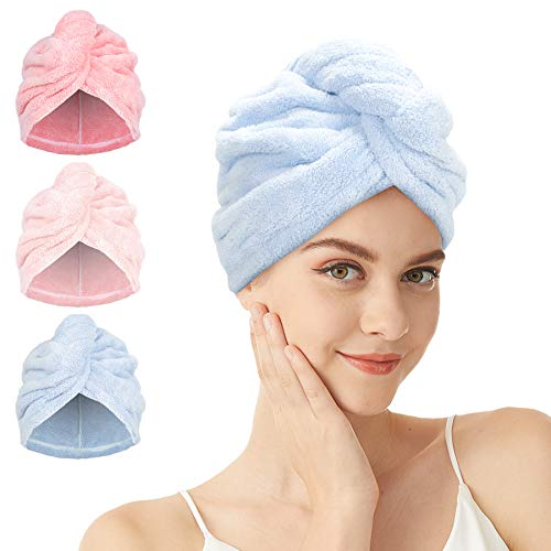HaarTurban - 2/3 Stück Mikrofaser Hair Handtuch Schnelltrocknend HaarTurbans mit Knopf Absorbierendes Haar Handtuch Kopftuch für Lange Haare