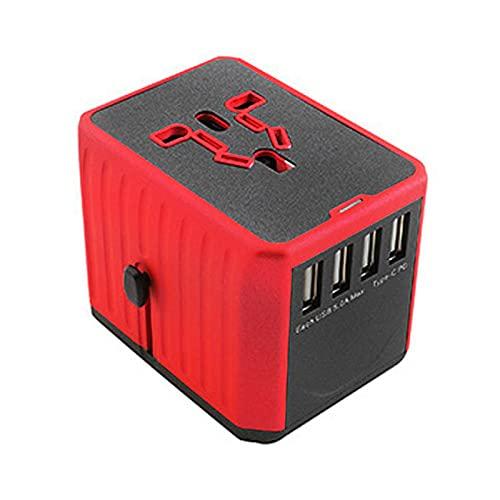 Adaptador Enchufe De Viaje, Universal Enchufe Adaptador con Dos Puertos USB Viaje Universal Adaptador,para Acerca de 150 Países y Seguridad de Fusibles (Rojo,3USB)