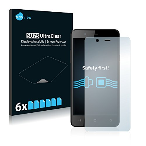 Savvies 6X Schutzfolie kompatibel mit Archos 50 Titanium 4G Bildschirmschutz-Folie Ultra-transparent