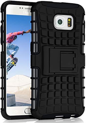 ONEFLOW Tank Case kompatibel mit Samsung Galaxy S6 - Hülle Outdoor stoßfest, Handyhülle mit Ständer, Kamera- und Bildschirmschutz, Handy Hardcase Panzerhülle, Obsidian - Schwarz