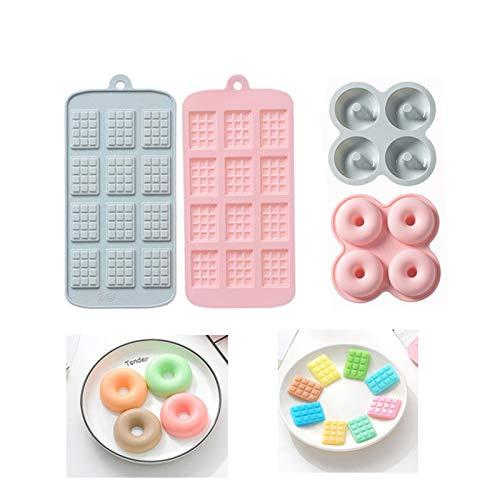 2 Stücks Silikon Donut Schimmel, 2 Stücks Waffelform Waffel Backform, Kuchenform DIY Schokolade Backform Kuchenform Eisform, Bakeware, Antihaft-Keksform-Küchenbackwerkzeug(Pink,Blau)