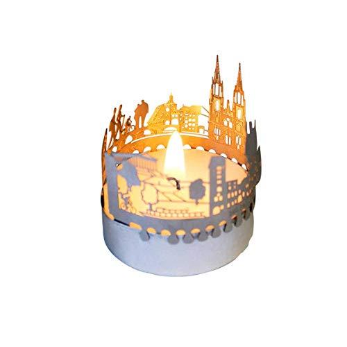 13gramm Regensburg-Skyline Windlicht Schattenspiel Souvenir, 3D Edelstahl Aufsatz für Kerze inkl. Karte