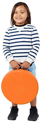 SoftScape 15 inch Round Floor Cushions with Handles for Flexible Seating Classrooms, 2 inch Thick Deluxe Foam (6-Piece) - Assorted