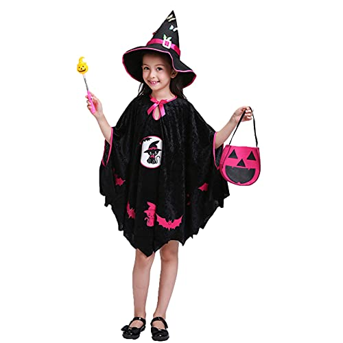 Julhold Disfraz de Halloween para niña bruja mago cosplay disfraz de fiesta de fiesta (negro (capa + sombrero + varita mágica + bolsa de caramelos), 3-4 años)
