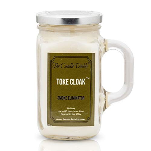 Toke Cloak- Neutral Scented Candle- by the Candle Daddy- Eliminates Smoke and Odor Smell- 10.5 Ounce - 80 Hour Burn Time- Poured in Small Batches in USA