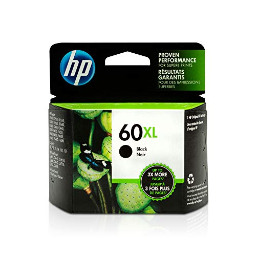 HP 60XL | Ink Cartridge | Black | Works with HP DeskJet D2500 Series, F2430, F4200 Series, F4400 Series, HP ENVY 100, 110, 111, 114, 120, HP Photosmart C4600 Series, C4700 Series, D110a | CC641WN