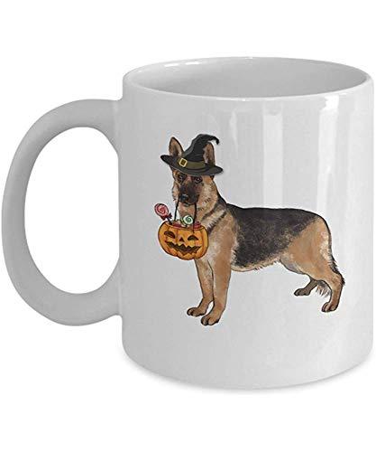 Keramische mok, Duitse herder koffiemok - Halloween pompoen heks keramische mokken Cup 11 Oz - gelukkig Halloween Duitse herder beste Halloween, verjaardagscadeau voor hond liefhebber, hond tante, opa, hond Grand