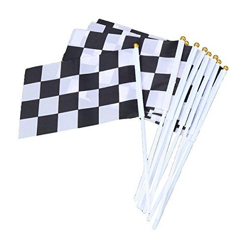 Toyvian Zielflagge Rennflagge Hand Flagge Stockflagge Stab/Stock Fahne für Racing Rennwettbewerb 25 STÜCKE 14 x 21cm (Weiß Schwarz)