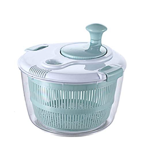 Curroxer 1 hilandero de ensalada y aparador, 5 L, gran capacidad, manual, con cuenco transparente, cesta de colador, sistema de drenaje fácil, base antideslizante, azul