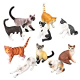 10PCS Cat Figures Toy Set, Realistic Educational Small Cat Figurines Kitten Easter Eggs Cake Topper Collection Playset for Boys Girls Kids