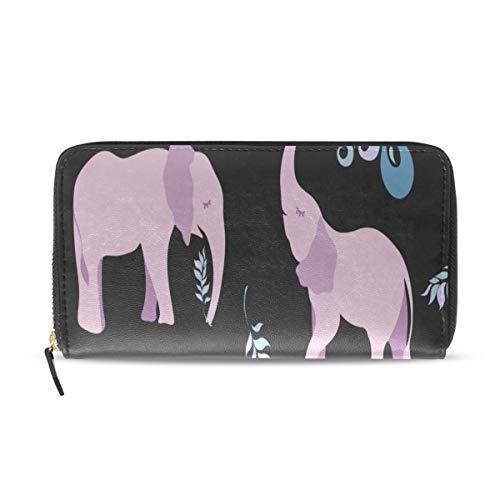 Pink Elephant Big Cute Ear Largo Pasaporte Embrague Monederos Cremallera Monedero Bolsa Bolso Organizador de dinero Bolsa Titular de la tarjeta de crédito para dama Mujer Chica Hombre Regalo de viaje