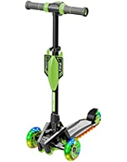 Small Rider Premium Pro, Patinete de 3 ruedas, Efectos de sonido de motocicleta, Ruedas y plataforma de PU anchas con luz LED, Ajustable en altura, Carga máxima 70 kg, Niños y niñas 3 a 8 años (Verde)