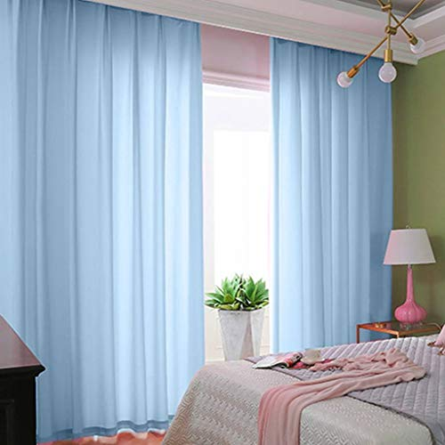 ShinyBeauty Baby Blue Chiffon Curtain 2 Panels 2.4ft x 9ft Tulle Backdrop Curtains Window Voile Curtain Rod Pocket Elegant Curtains (29''x108'' 2 Panels, Baby Blue)