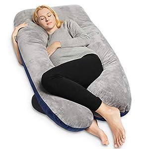 QUEEN ROSE Almohada de Embarazo con Funda de Lavable, Almohada de Cuerpo Completo en Forma de U para Mujeres Embarazadas (Plush-Azul&Gris)