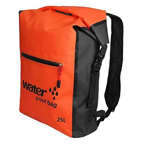 YepYes Dry Bag Mochila, Bolsa Seca Resistente Agua Natación Mochila 25L Mochila para Aire Libre Rafting Kayak Navegación Deriva de Orange
