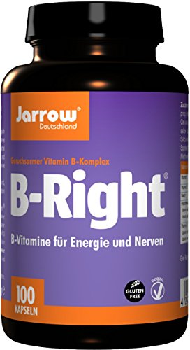 Jarrow B-Right, B-vitamine-complex met 8 B-vitaminen plus choline en inositol, veganistisch, hooggedoseerd, optimaal bioveroplosbaar, Duitsland, 82 g