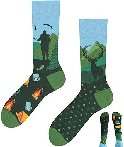 TODO Colours Lustige Socken mit Motiv - Mehrfarbige, Bunte, Verrückte für Herren und Damen (39-42, Berge Motiv Socken)