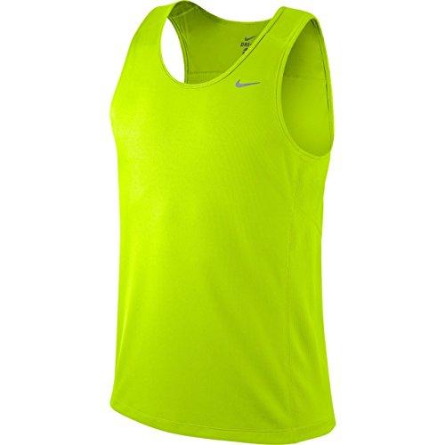 NIKE Tank Miler Team Singlet - Camiseta sin Mangas de Running para Hombre, Color Amarillo, Talla L