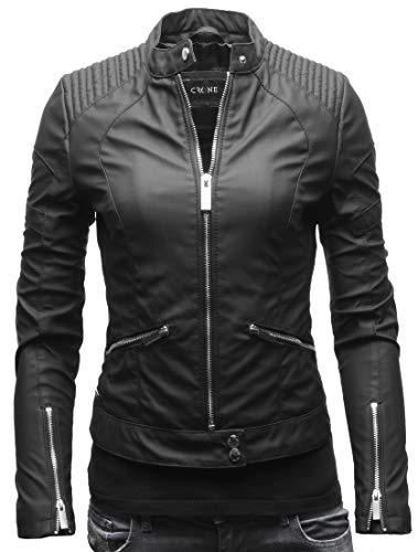 Crone Minerva Damen Biker Lederjacke Cleanes Design weiches Rindsleder oder Ecoleder (XS, Matt Schwarz (Ecoleder))