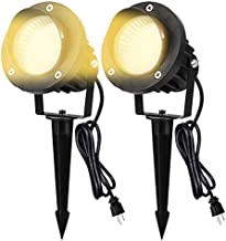 LED Landscape Spotlight Outdoor Yard Lawn Lights 120v 600LM Flood Light with IP66 Waterproof Lifehub Outside Graden Spotlights for Tree,Flag,Wall,Patio Decorative Lamp with US 3-Plug in (2 Packs)