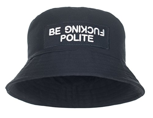 Damen Mädchen Parental Advisory Bucket Hat Bush Cap Sommer Urlaub schwarz Party Gr. One Size, Schwarz - Be Fucking Polite