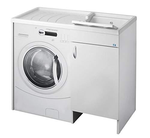 lavado CUBIERTA DE MAQUINA negrari Eco montado bañera para Lavadora derecha DX SX Izquierda Protector Blanco Móvil madera ennoblecido Hidrófugo lavabo Tabla Plástico Interior L109P60109x 60