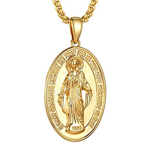 GoldChic Jewelry Medalla Virgen Milagrosa María Colgante Encanto Collar Extensible Regalo para Mujer Hombre Gratis Estuche