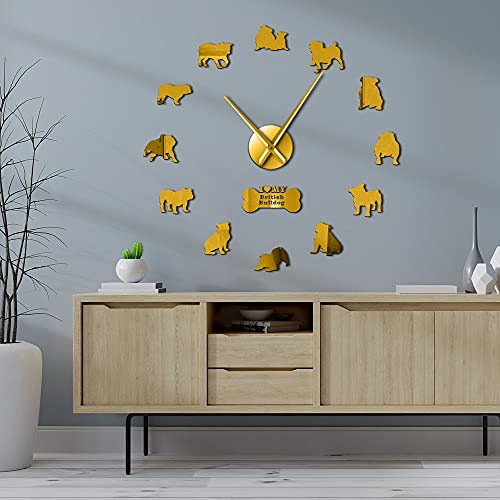 Relojes de pared grandes Bulldog Inglés Bulldog Silueta británica Pegatinas de pared DIY sin marco reloj de pared perro mascota propietario regalo (oro、27 pulgadas)