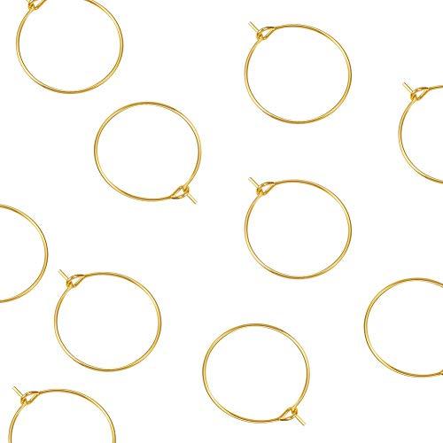 Airssory 10 Pcs 304 Stainless Steel Golden Plated 21-Gauge Wine Glass Charm Ring Hoop Earring Findings Wire Hoop Earings…