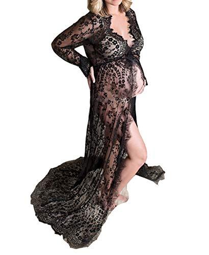 Arbres Zwangerschapsmode Gown kanten jurk zwangerschapsjurk fotoshoot split front fotografie ondersteuning jurk