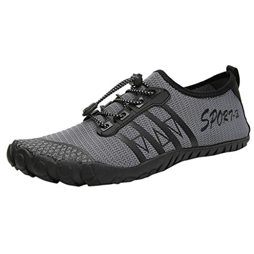 Haforever Casual Water Shoes Men Womens Flats Breathable Water Shoe Pool Beach Swim Slip-On Creek Diving Shoe Beach Shoes Grey