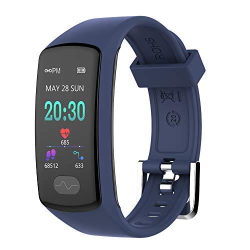 Armband Uhr,Zeerkeer Fitness trackers 0,96 Elektrokardiogramm PPG, Schrittzähler, Kalorienverbrauch SMS, Facebook Twitter Damen Heern (Blau)