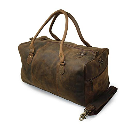 Jaald 20' Buffalo Leather Duffle Bag Travel Carry-on Luggage Overnight Gym Weekender Bag