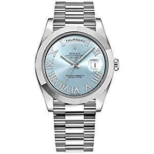 Fashion Shopping Men's Rolex Day-Date Platinum 41mm Watch with Diamond Roman Numeral Hour Markers – Ref # 218206