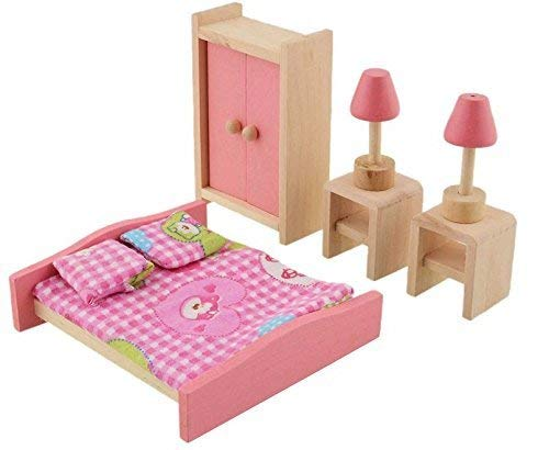 Baby Kids Play Pretend Toy Design Wooden Doll Furniture Dollhouse Miniature Toy Children Gifts for Bedroom