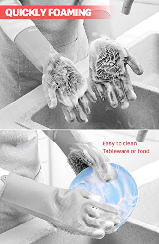 Product Image 2: anzoee Reusable Silicone Dishwashing Gloves, Pair of Rubber Scrubbing Gloves for Dishes, Wash Cleaning Gloves with Sponge Scrubbers for Washing Kitchen, Bathroom, Car & More (Gray) …