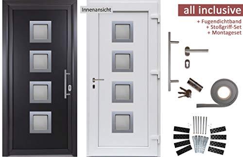 kuporta Kunststoff Haustür Rimini Türen 98 x 190 cm DIN links außen anthrazit/innen weiß mit Stoßgriff-Set Montageset Fugendichtband