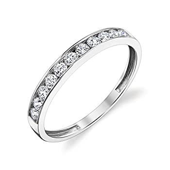 10k Solid White Gold Channel Set Wedding Band Ring Size 5.5