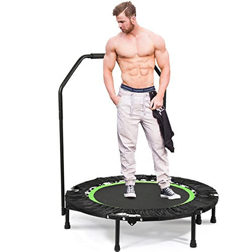 ANCHEER 40'' Fitness Trampoline for Adults with Handle Bars,Mini Rebounder Trampoline Bungee Folding,Home Gym Exercise Workout Jumper with Stability for Weight Loss, Indoor/Outdoor Cardio (Green2)