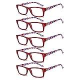 VVDQELLA 5 pares de gafas de lectura para mujer Diseño de patrón de bisagra de primavera Lectores de moda