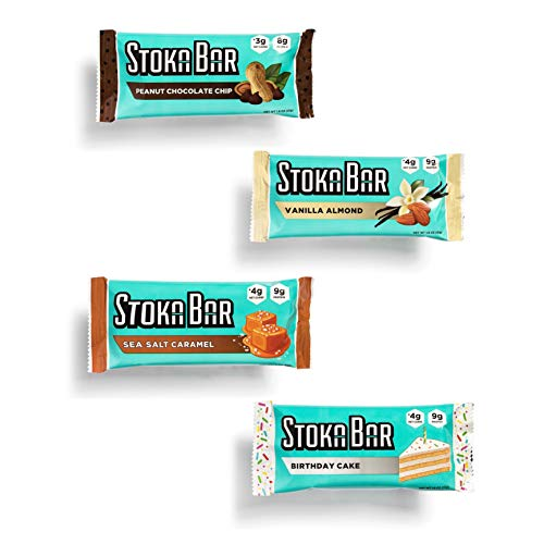 Stoka Bars- Vanilla Almond and Coco Almond | All Natural- Low Carb Energy Bar | 4g Net Carbs | 9g Protein | Keto Friendly | 8 Count